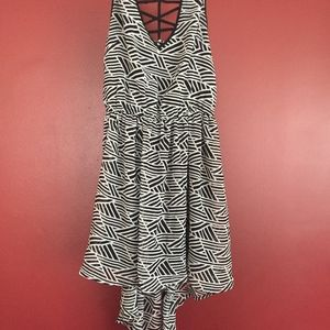 Patterned Black and White High Low dress